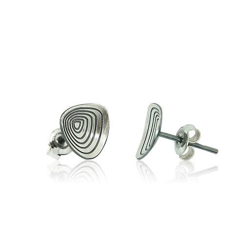 Handmade Designer Sterling Silver Brushed Etched Stud Earrings