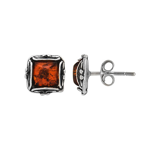 Sterling Silver Oxidised Amber Square Stud Earring