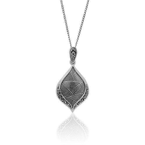 Silver Marcasite Leaf Pendant
