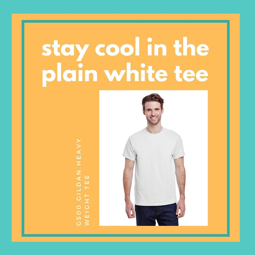 Stay cool in the plain white tee. G500 Gildan Heavy Weight Tee
