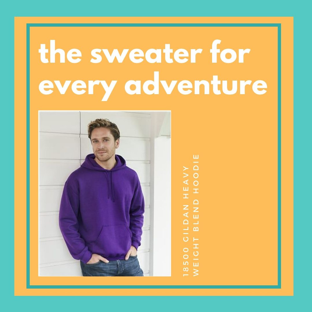 The sweater for every adventure. 18500 Gildan Heavy Weight Blend Hoodie.