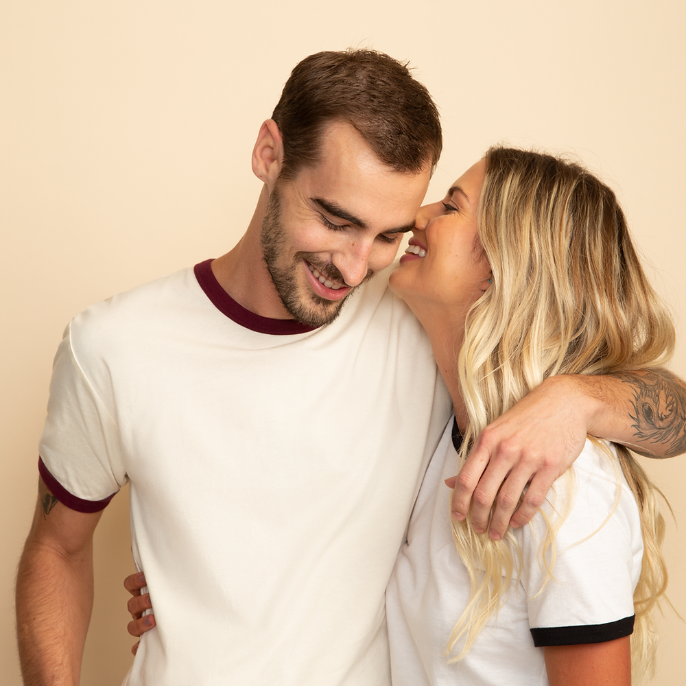 couple in t-shirts