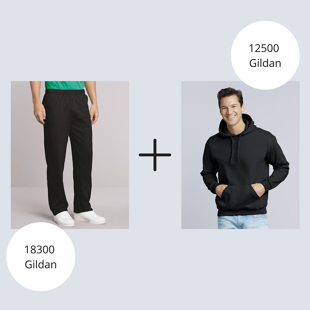 Man in Gildan Hoodie and Sweatpants