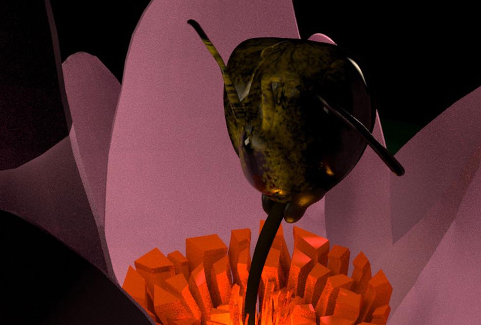 3D character model of a honeybee head