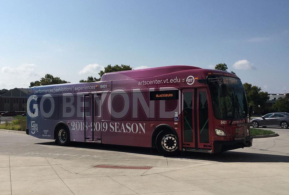 Moss Arts Center bus wrap promo