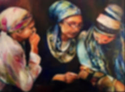 Women praying at Kever Rochel 36X38 Oil