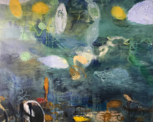 Organic with blue 48X48 Mixed media on wood