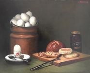 Eggs in a Copper Pot Oil on Canvas 18X24