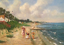 Kids at Belford Beach oil on Canvas 16X2