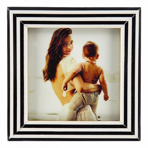 Square Picture Frame In Black Horn