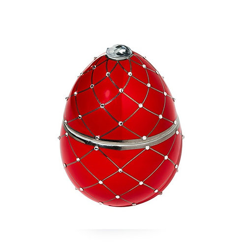 Fabergé Red Egg With Silver Stripe