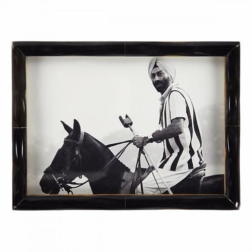 Picture Frame Black Horn Narrow Edge