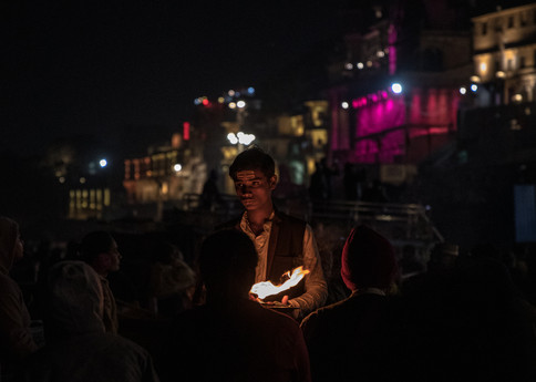 A young man at the Aarti celebration.