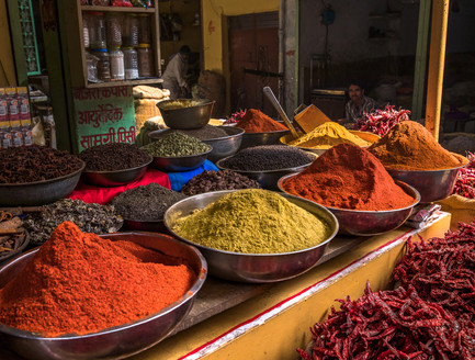 The world-famous spice market in Udaipur, India.