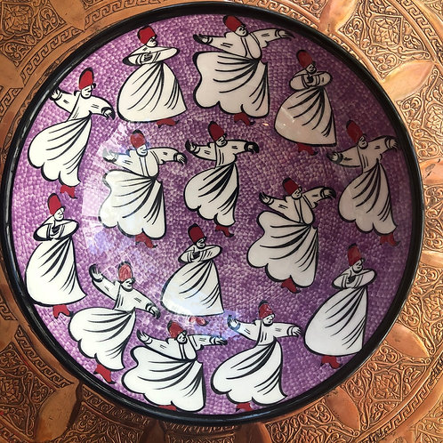 WHIRLING DERVISH CERAMIC LARGE BOWL 8.4""
