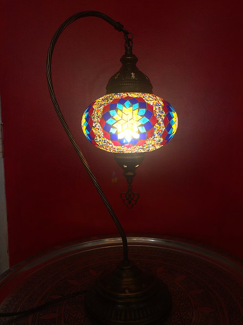 LARGE TURKISH MOSAIC SWAN LAMP 23""