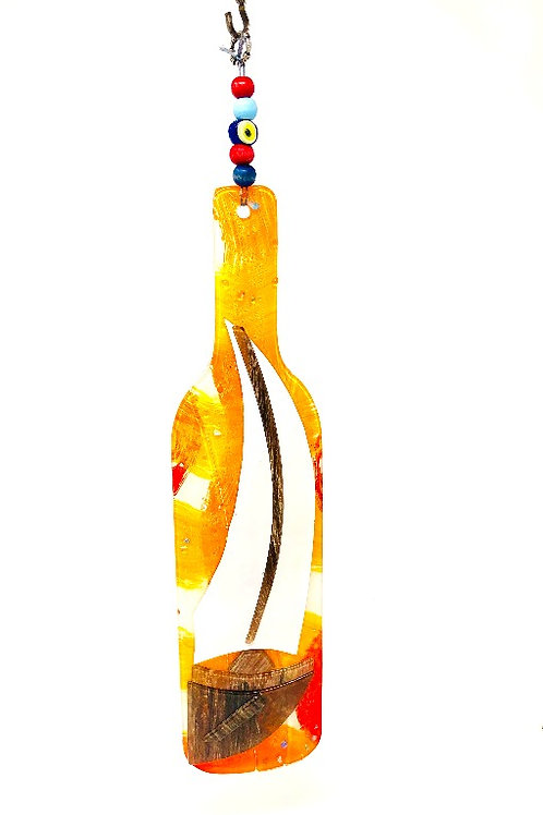 GLASS WINE BOTTLE WALL HANGING (SAIL BOAT)