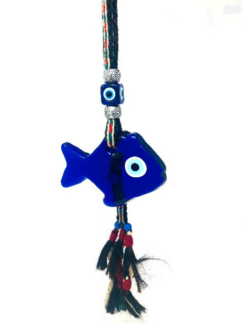 HANGING FISH ALL SEEING EYE WITH WOVEN ROPE TASSEL