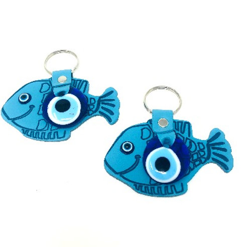 ALL SEEING EYE FISH KEYCHAIN (BLUE, MUSTARD, TURQUOISE, L BLUE)