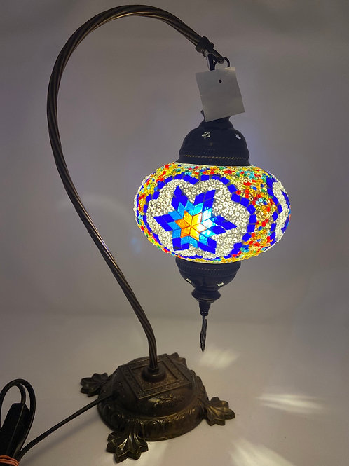LARGE TURKISH MOSAIC SWAN LAMP 17""