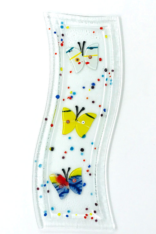 GLASS APPETIZER DISH WITH BUTTERFLY'S
