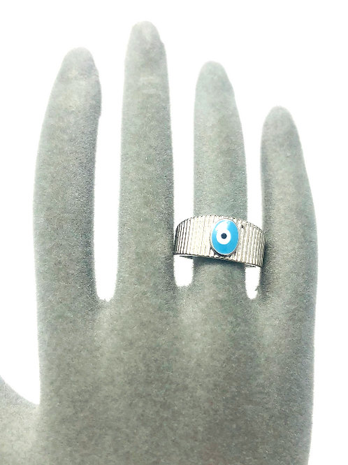 SILVER PLATED ALL SEEING EYE RING