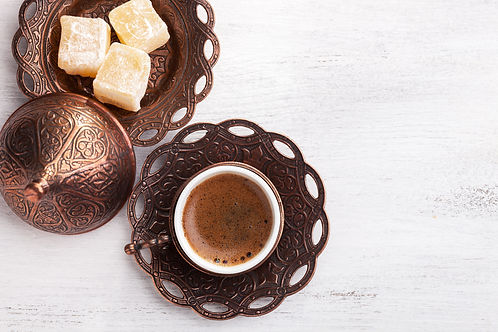 Traditional turkish coffee and turkish d