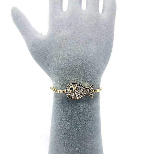 GOLD PLATED ALL SEEING EYE FISH BRACELET