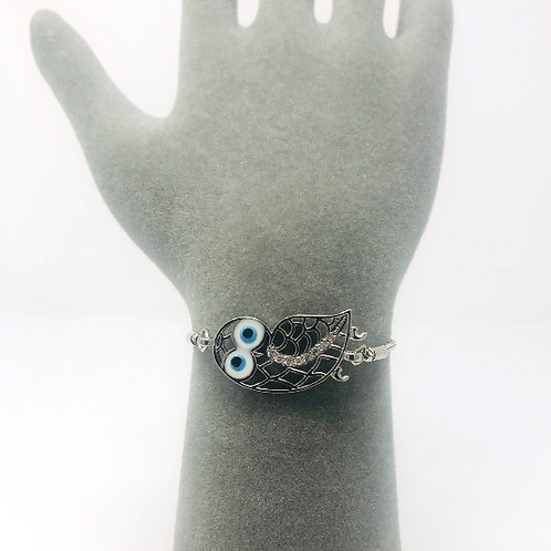 SILVER ALL SEEING EYE OWL BRACELET
