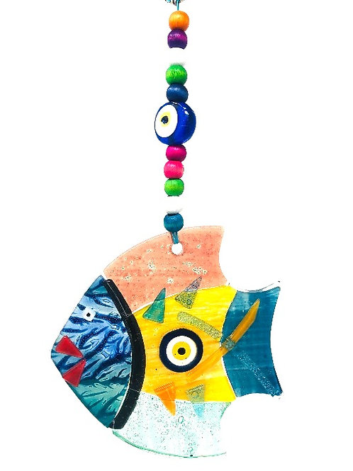 HANGING GLASS EVIL EYE FISH