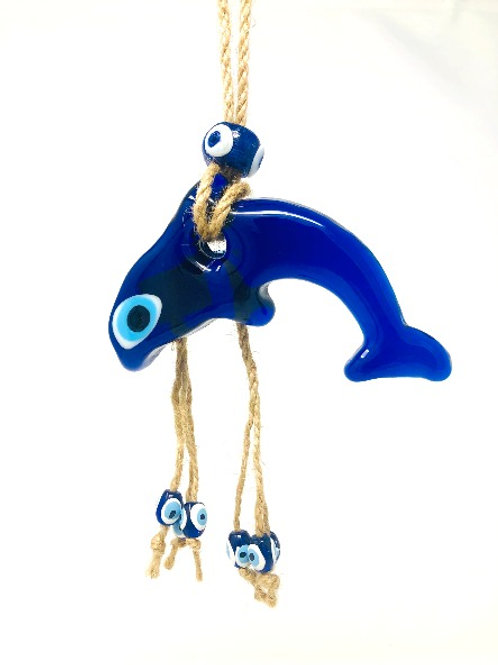 HANGING GLASS EVIL EYE DOLPHIN
