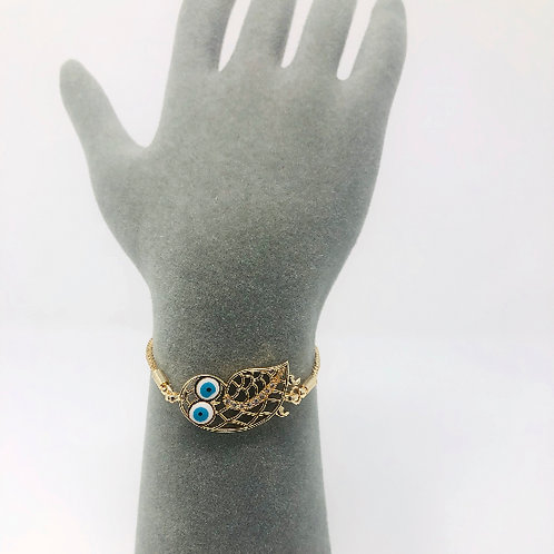 GOLD PLATED OWL ALL SEEING EYE BRACELET