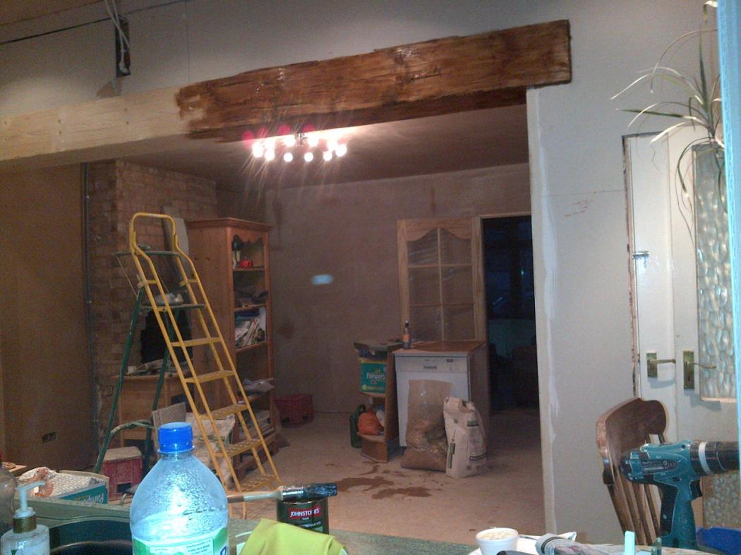 wall removed and timber joint