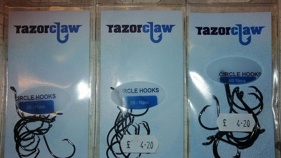Circle hooks various sizes - Razor claw