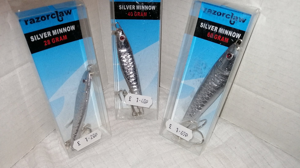 Razor claw silver minnow spinners