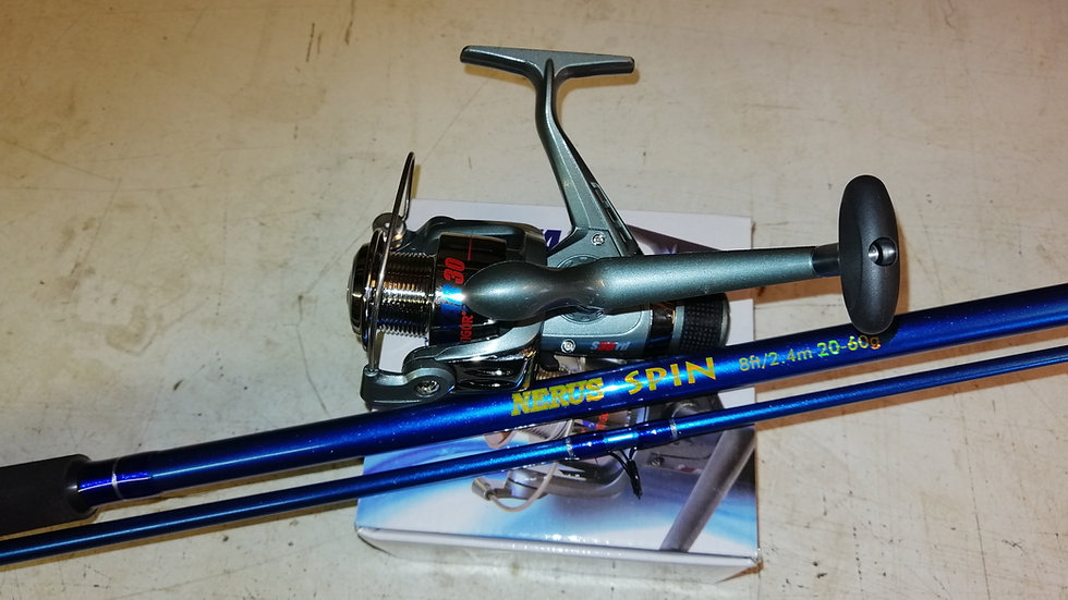 8ft Spinning rod and reel 20 - 60g
