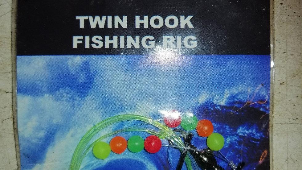 Twin hook fishing rig 2 hooks - 3/0
