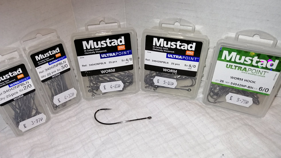 Mustad Ultra point worm Hooks 34042BLN x25 hooks per packet