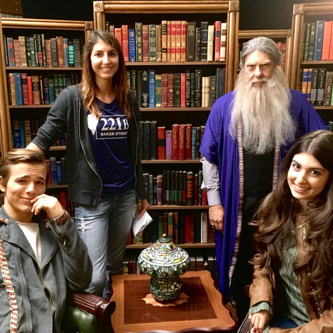 "Posing with my lead actors on the magic library set of ""Intrepid"""
