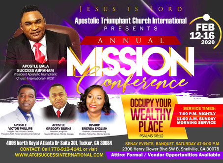 """OCCUPY YOUR WEALTHY PLACE"" 2020 Annual Missions Conference"