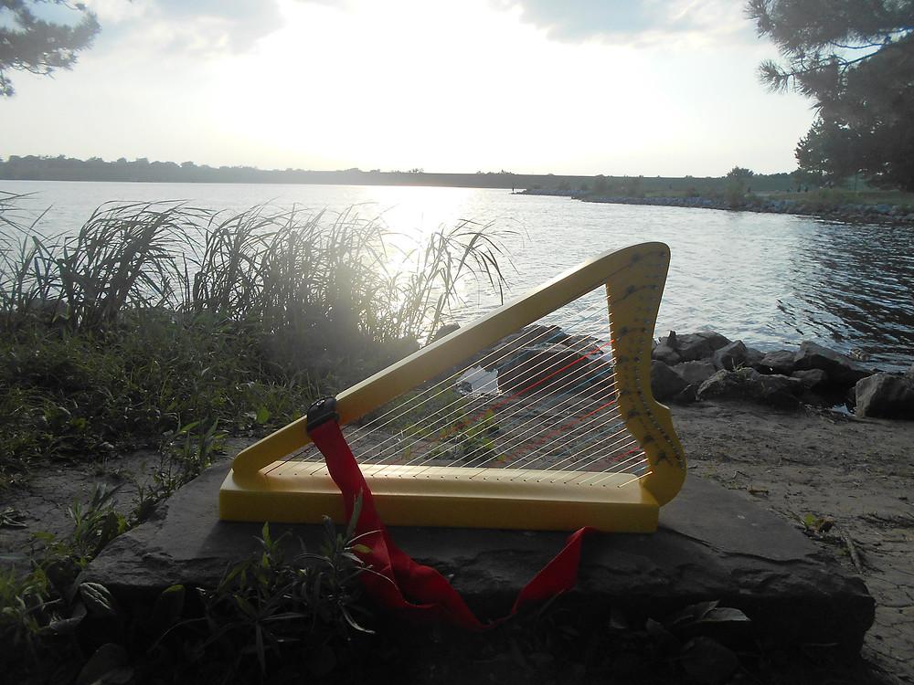 harp on riverbank
