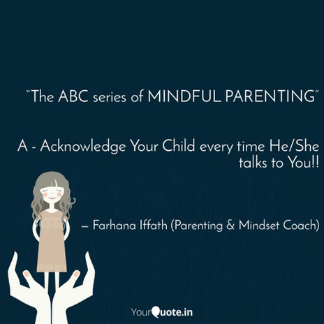 """'the ABC series of MINDFUL PARENTING"""""""