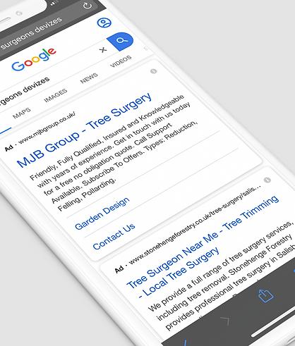 Google Ads on phone Google search