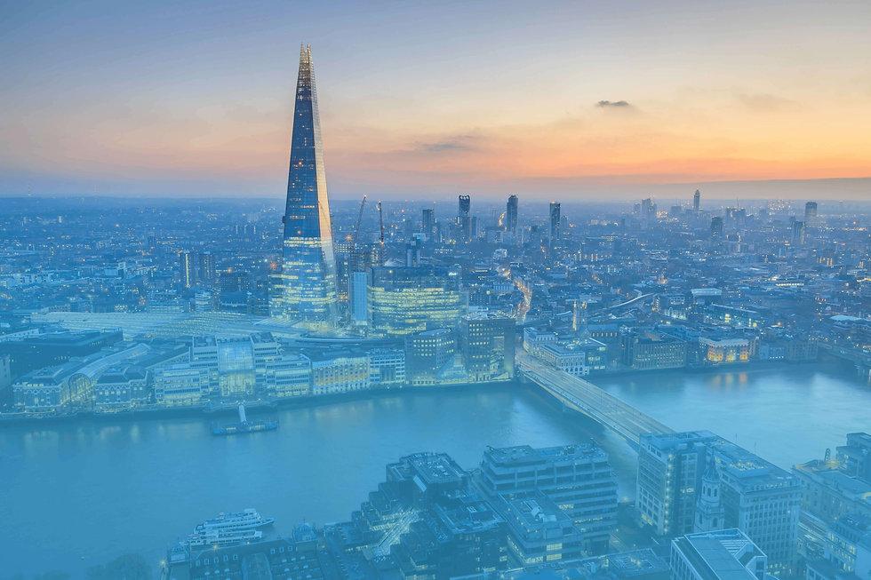London city skyline in blue