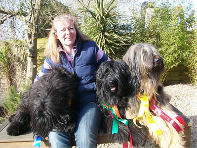 Debbie Mackay (Doggy Dilemmas) - With her beautiful Briards.