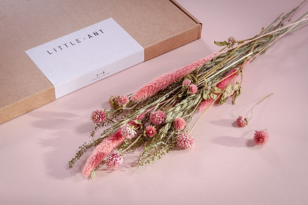 Dried flowers and branded packaging