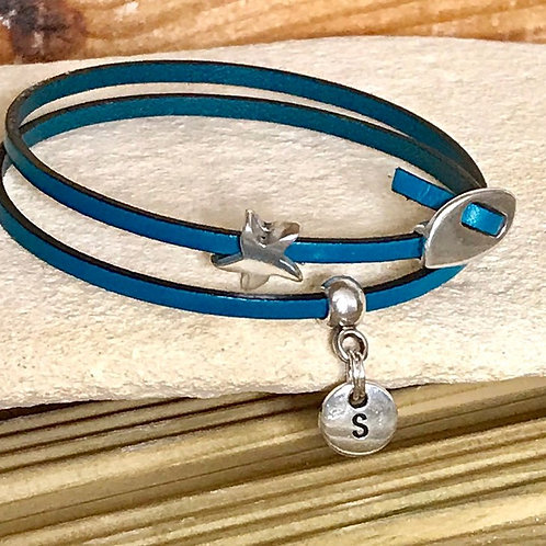 SIlver Charm on Teal Blue Leather