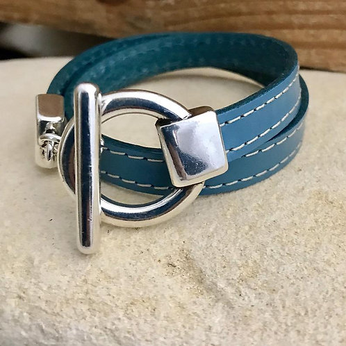 Double Wrap Leather Bracelet with Silver Toggle