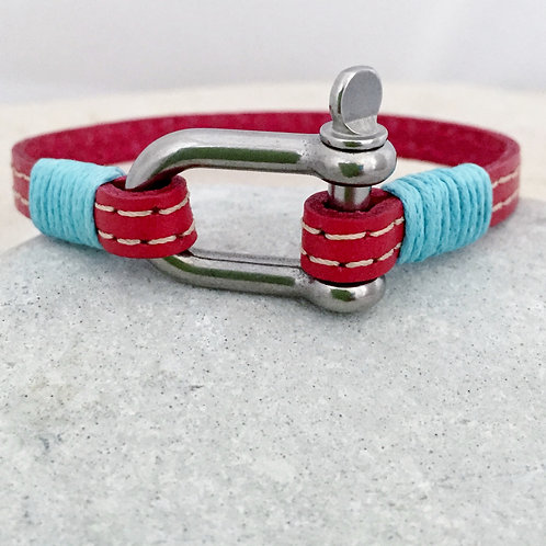 Leather and Small Steel Shackle Bracelet