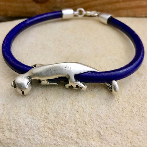 Silver Gecko on Leather Bracelet with Hook Clasp
